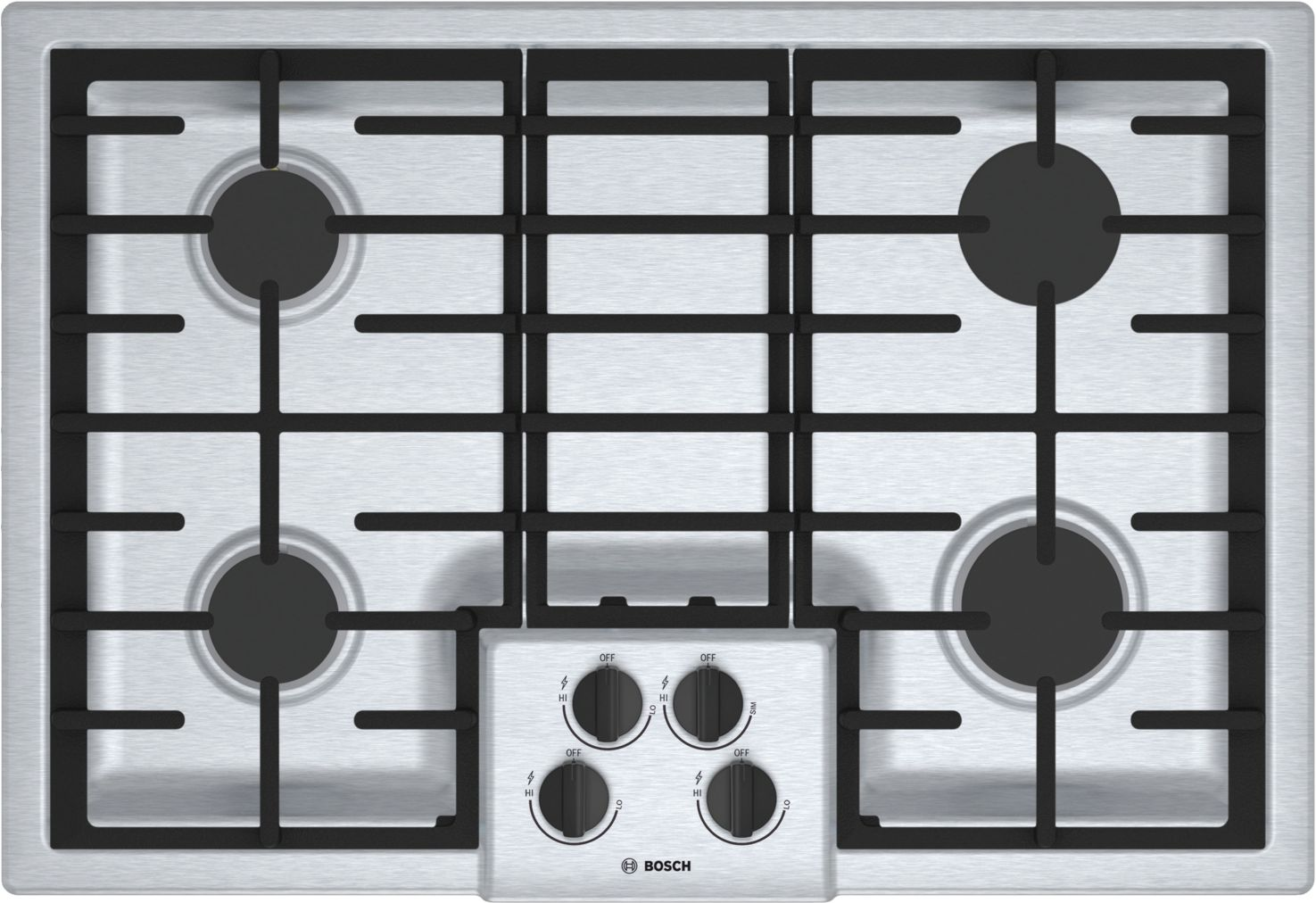 "Bosch 500 Series30"" 4 Burner Gas Cooktop, NGM5056UC, Stainless Steel"