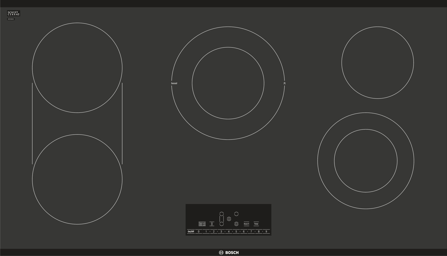 "Bosch 800 Series36"" Touch Control Electric Cooktop, NET8668UC, Black Frameless"