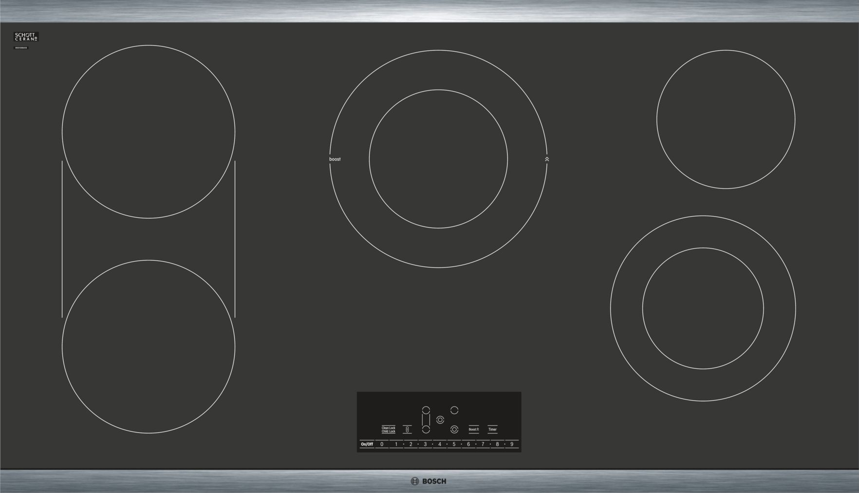 "Model: NET8668SUC | Bosch 800 Series36"" Touch Control Electric Cooktop, NET8668SUC, Black with Stainless Steel Frame"