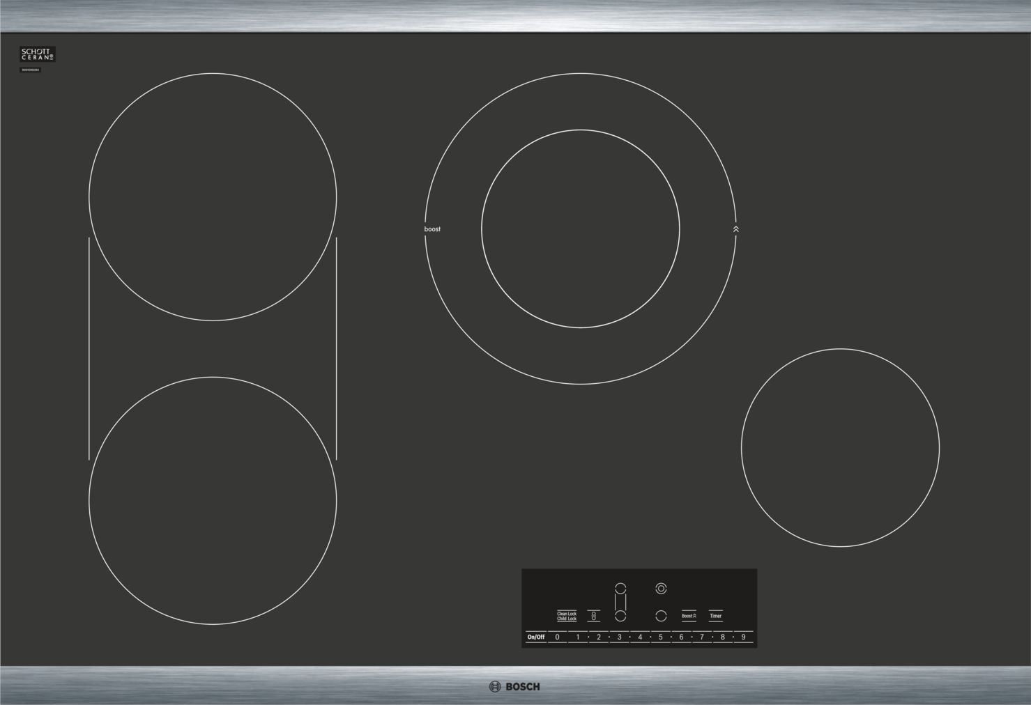 "Bosch 800 Series30"" Touch Control Electric Cooktop, NET8068SUC, Black with Stainless Steel Frame"