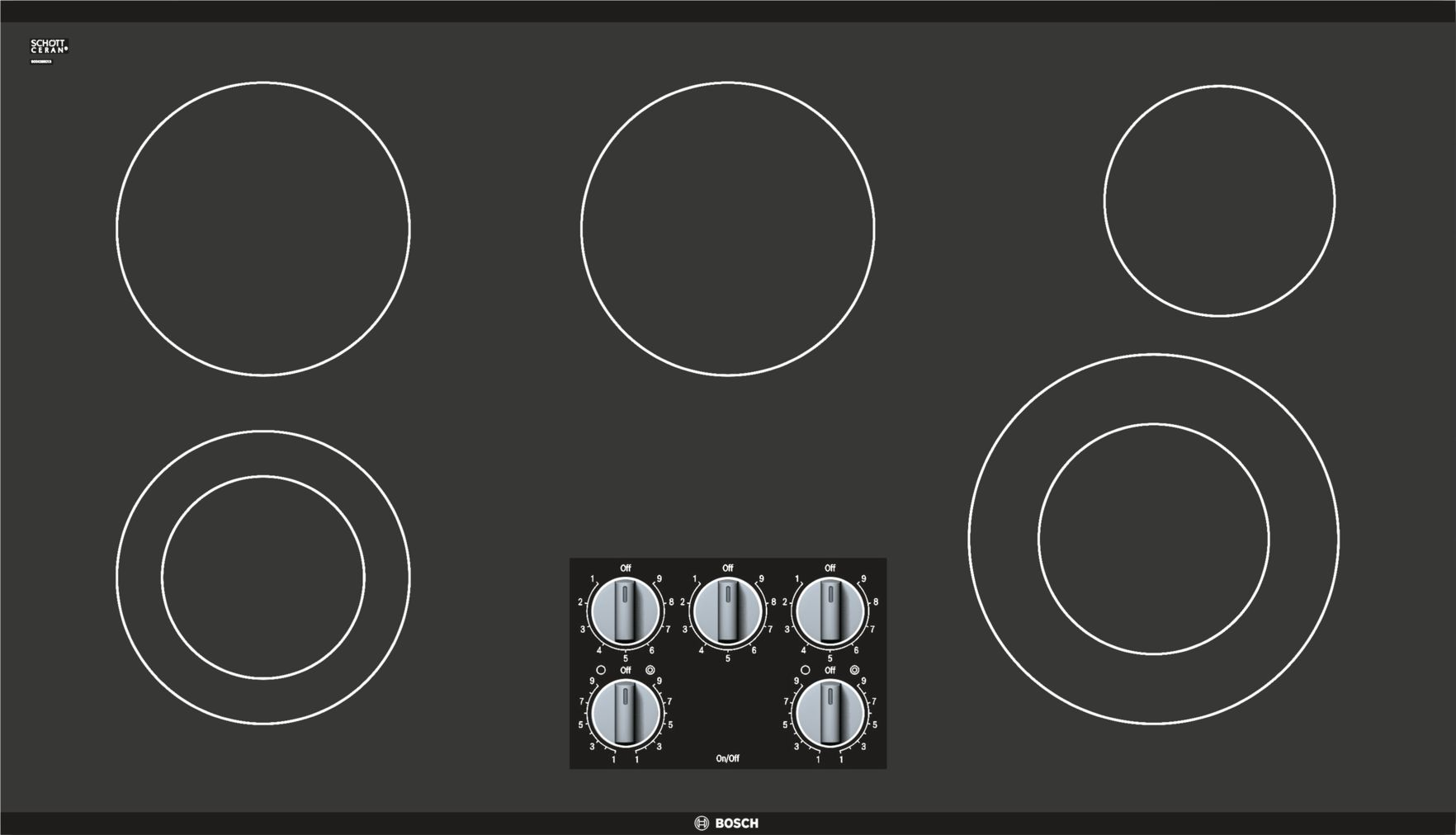 "Bosch 500 Series36"" Knob Control Electric Cooktop, NEM5666UC, Black Frameless"
