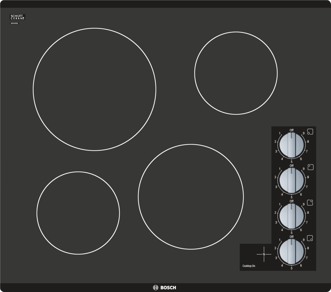 "Bosch 500 Series24"" Knob Control Electric Cooktop, NEM5466UC, Black Frameless"