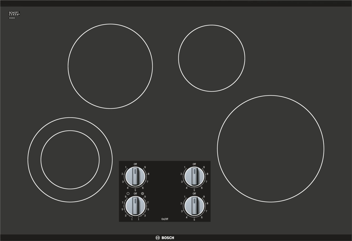 "Bosch 500 Series30"" Knob Control Electric Cooktop, NEM5066UC, Black Frameless"