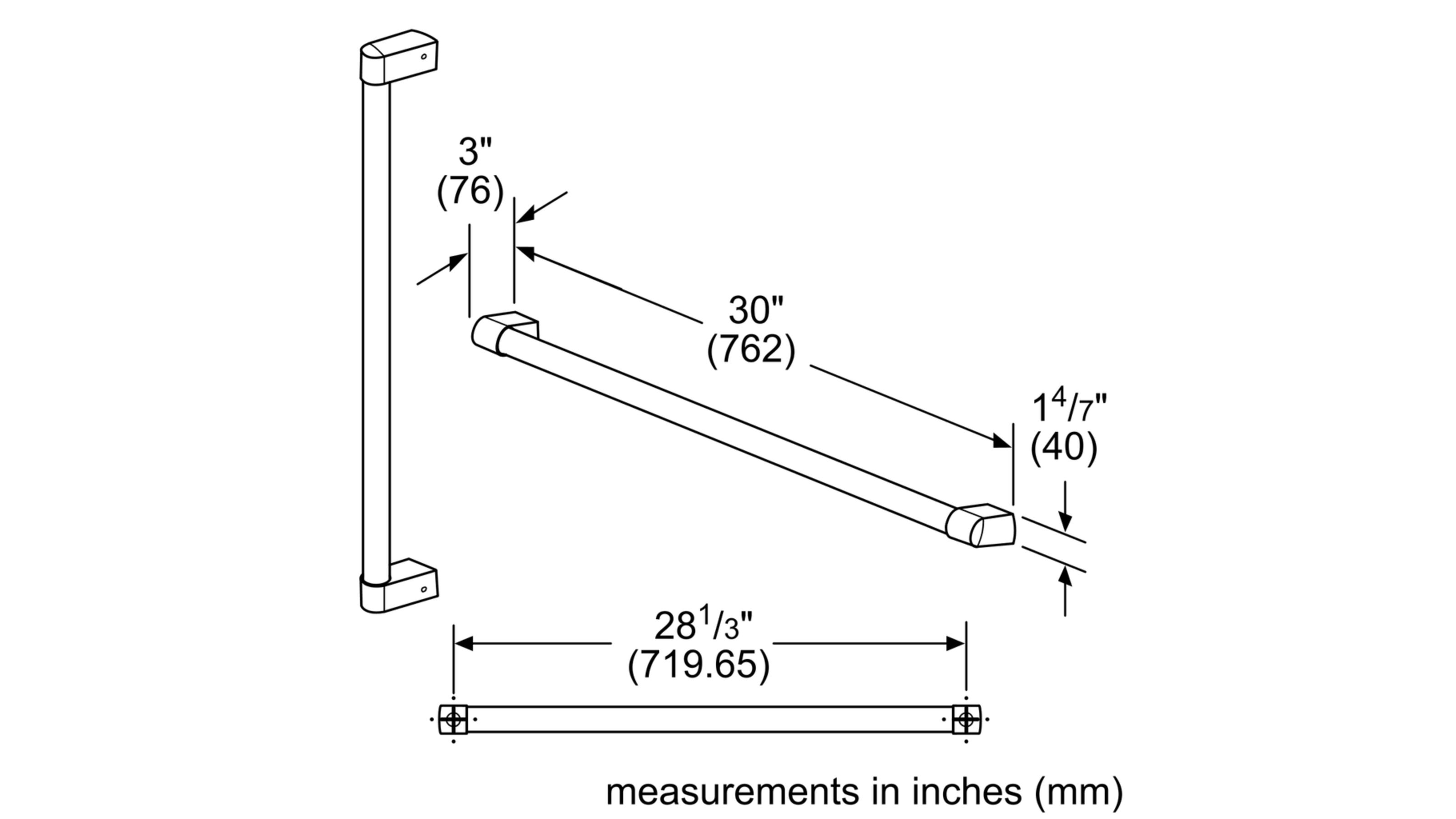 Model: BOHANDL40 | Freestanding Refrigeration Pro-style Handle Kit Accessory, 4 Handles
