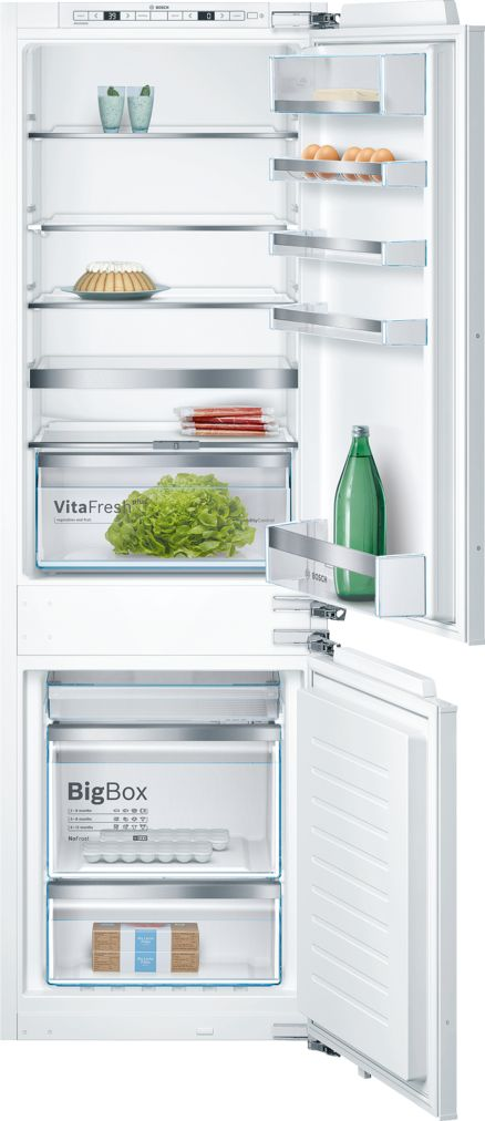 "Bosch 800 Series24"" Built-in Two Door Bottom Freezer Refrigerator with Home Connect, B09IB81NSP, Custom Panel"