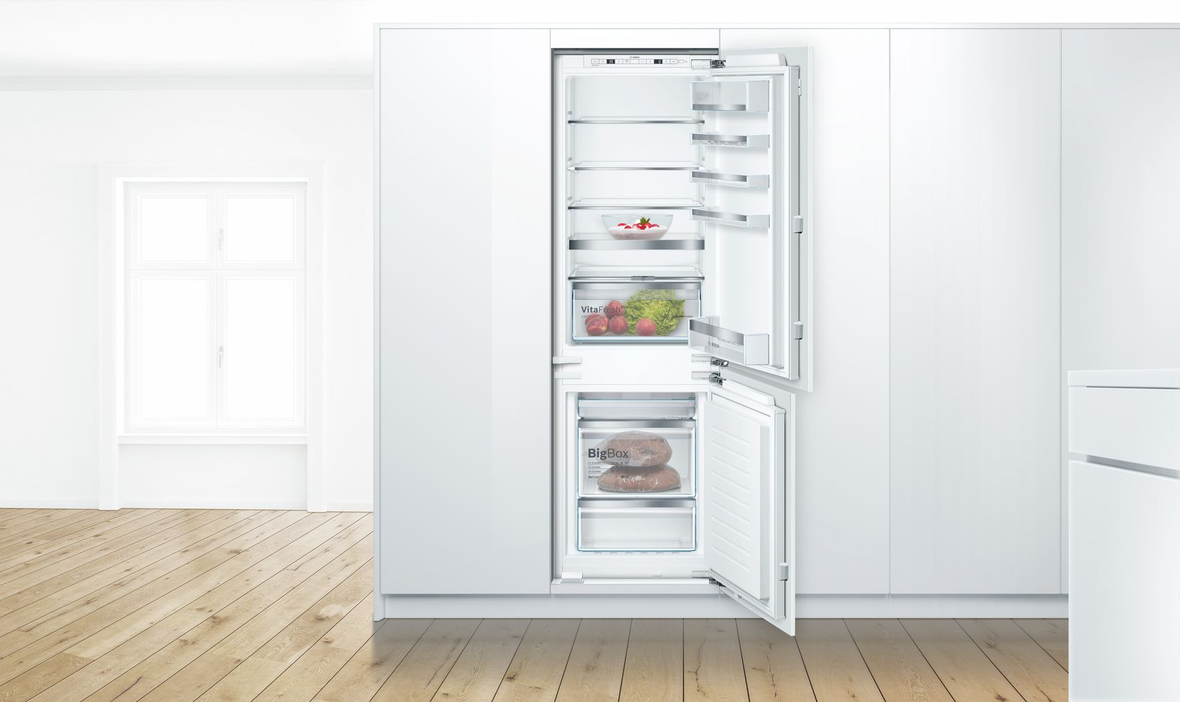 "Model: B09IB81NSP | Bosch 800 Series24"" Built-in Two Door Bottom Freezer Refrigerator with Home Connect, B09IB81NSP, Custom Panel"