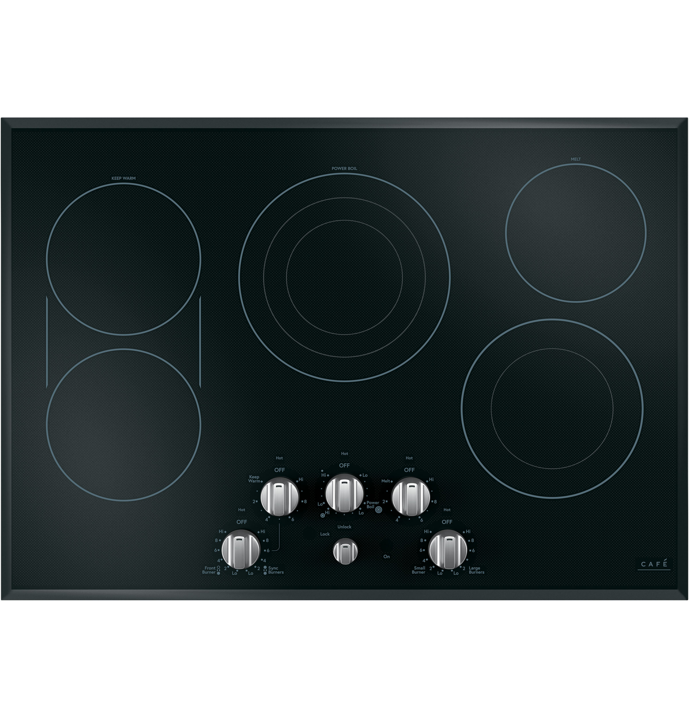 Cafe 5 Electric Cooktop Knobs - Brushed Stainless