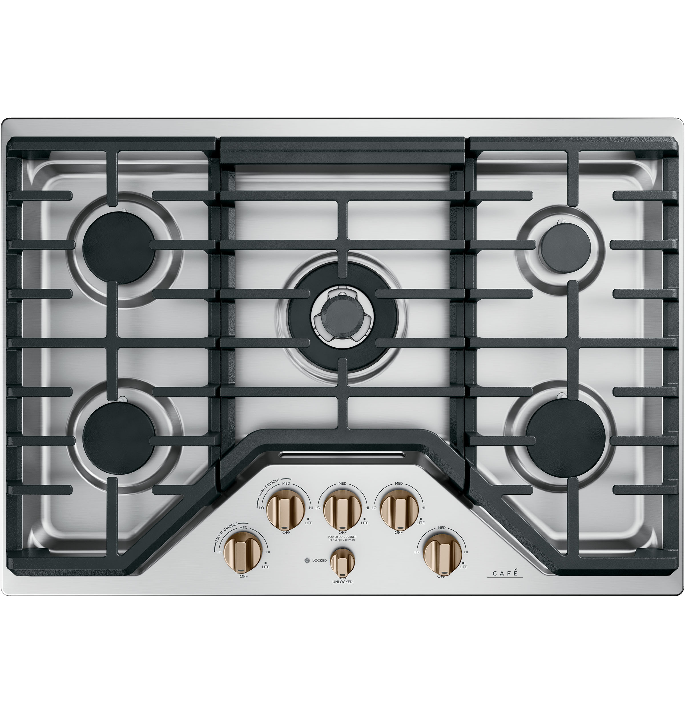 Cafe 5 Gas Cooktop Knobs - Brushed Bronze