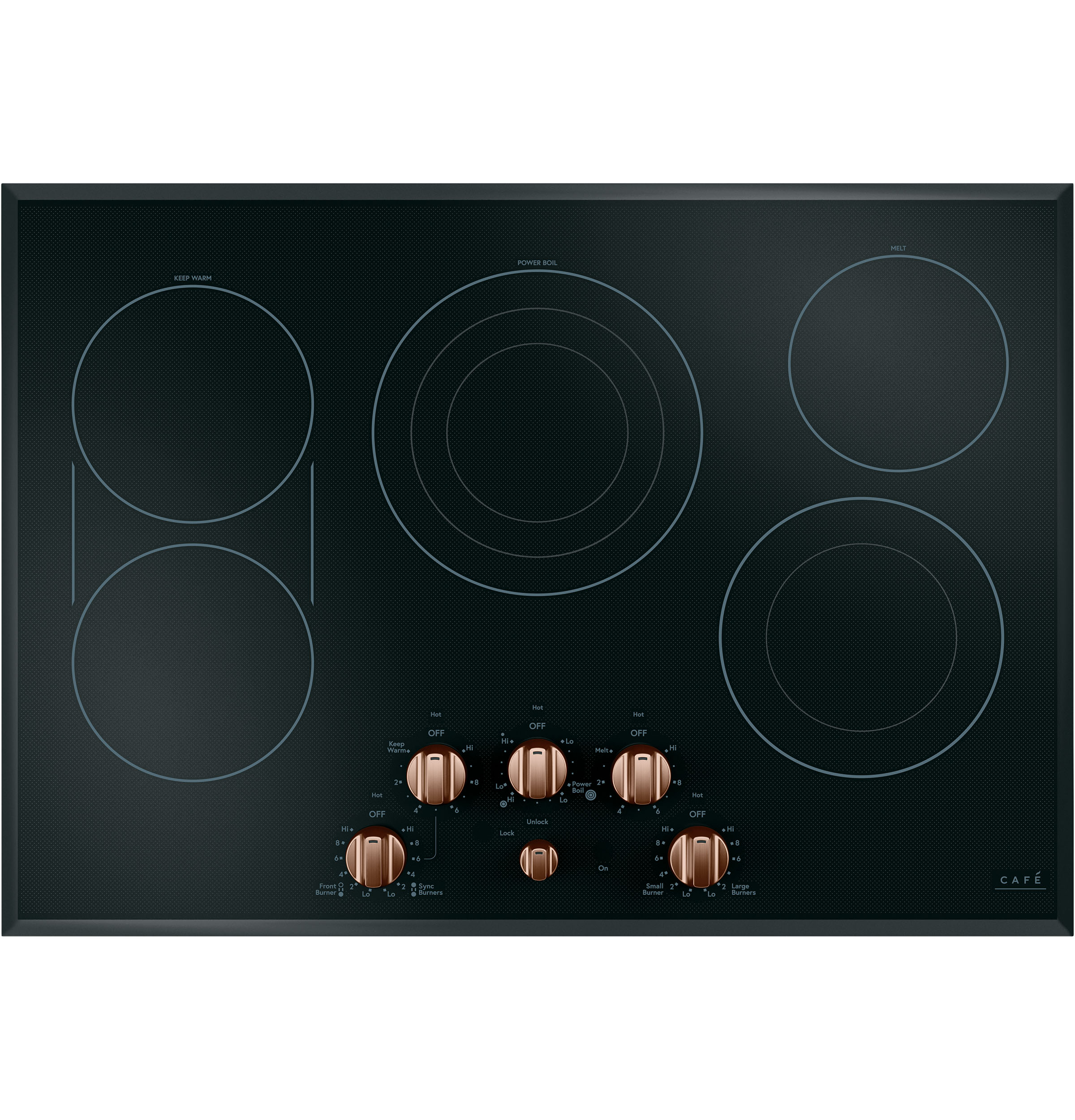 Cafe 5 Electric Cooktop Knobs - Brushed Copper