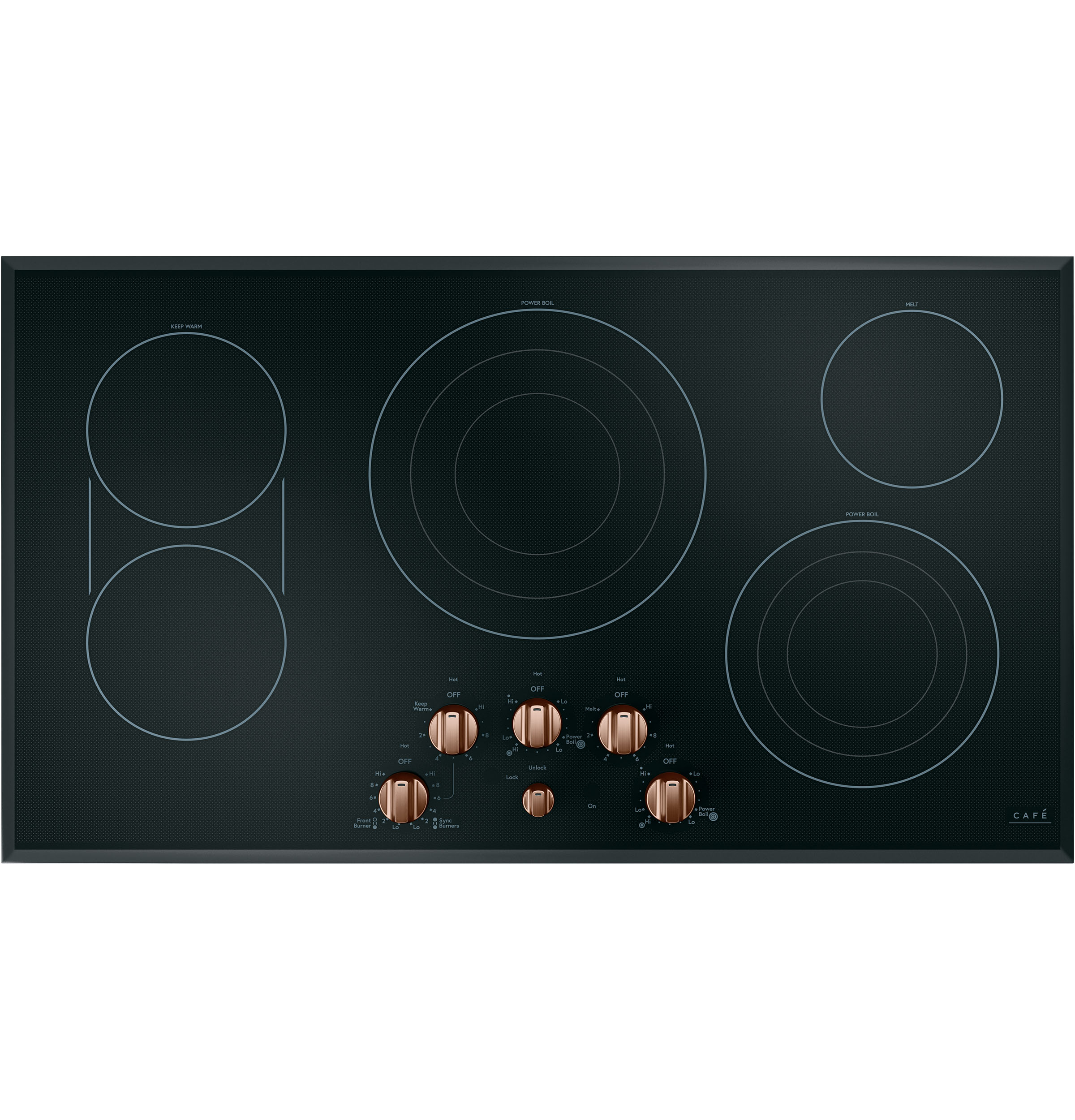 Model: CXCE1HKPMCU | Cafe 5 Electric Cooktop Knobs - Brushed Copper