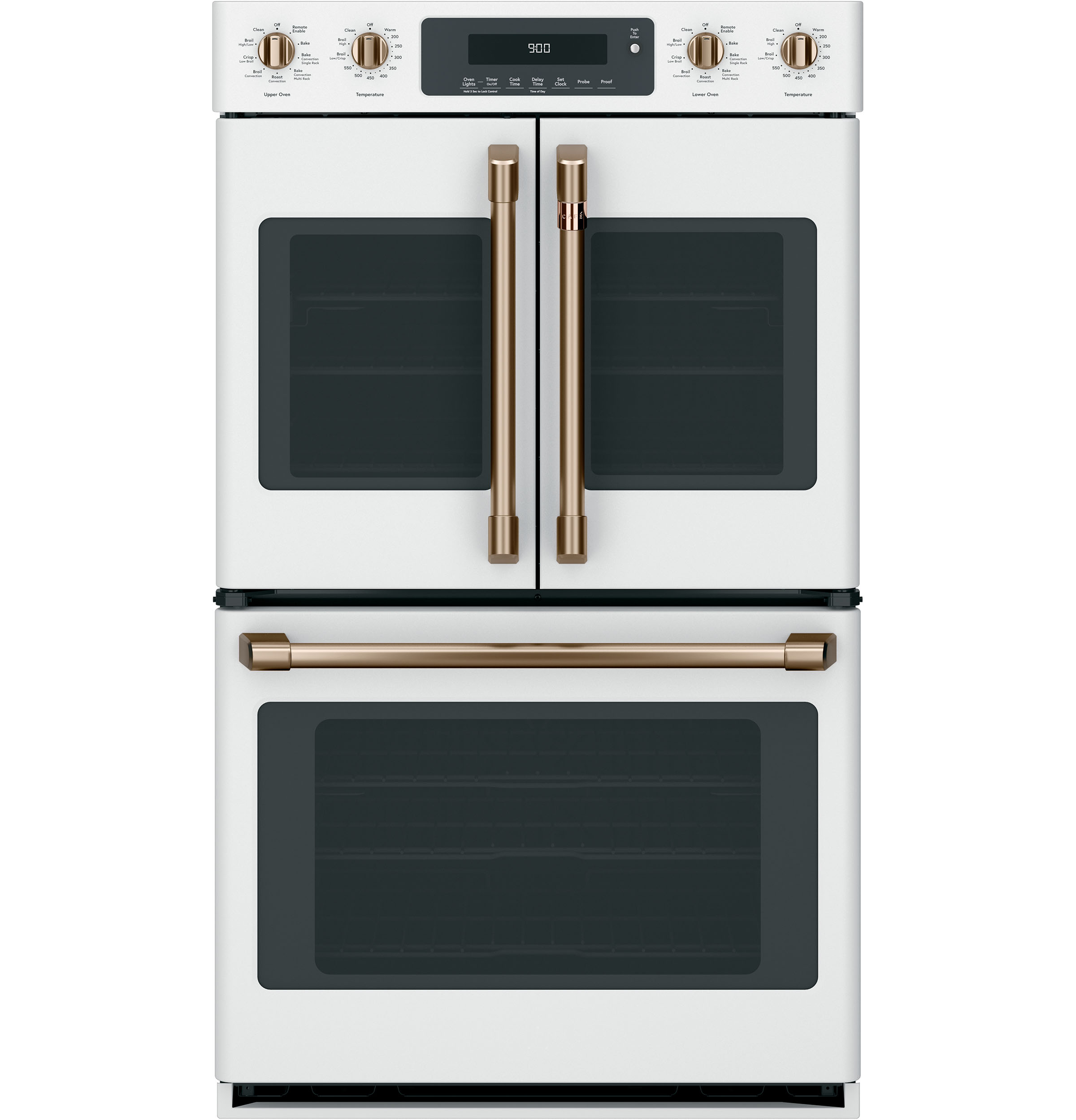 "Model: CXWDFHKPMBZ | Cafe 2 French-Door Handles; 1 - 30"" Handle; 4 Knobs - Brushed Bronze"