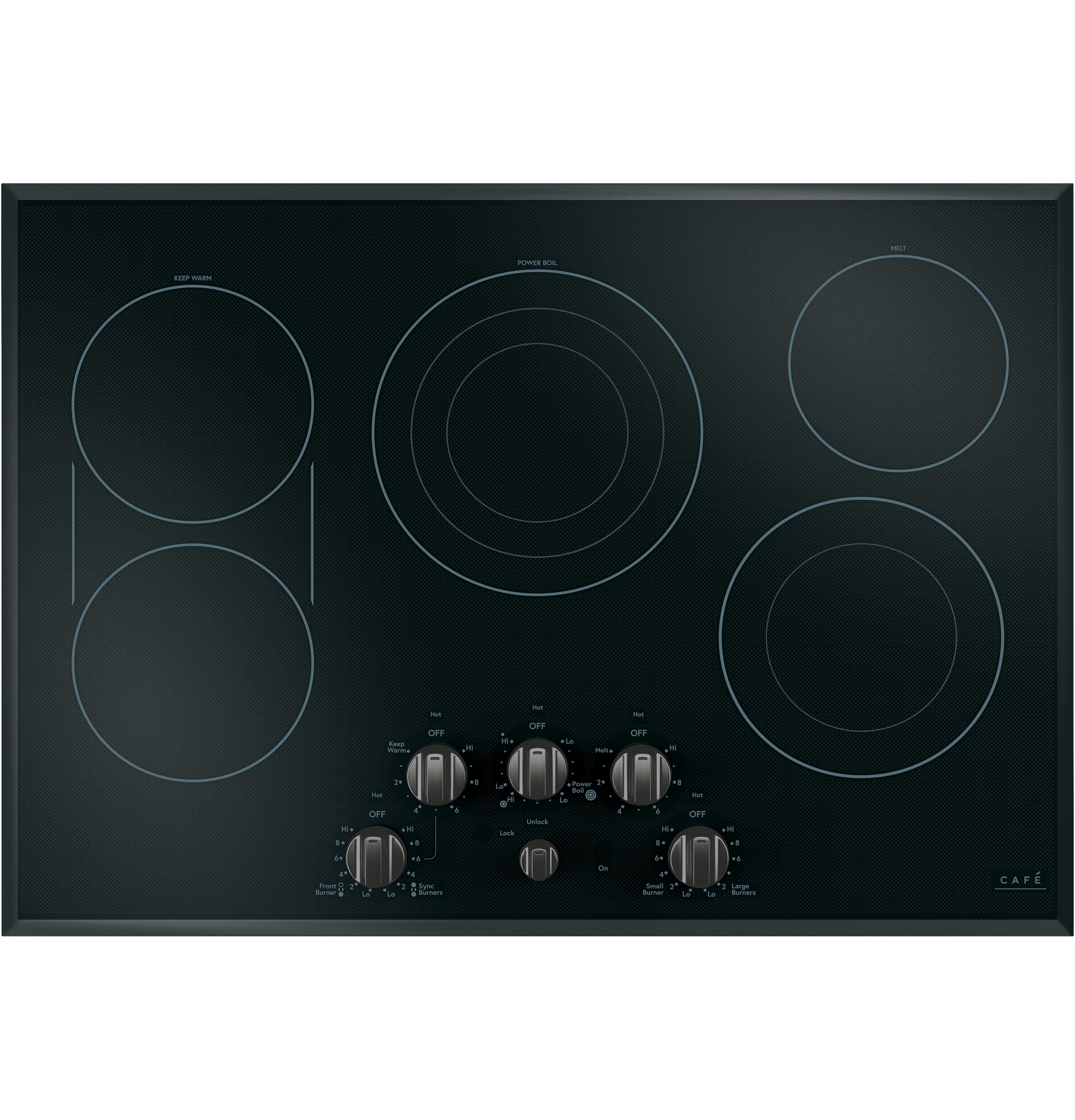 Cafe 5 Electric Cooktop Knobs - Brushed Black