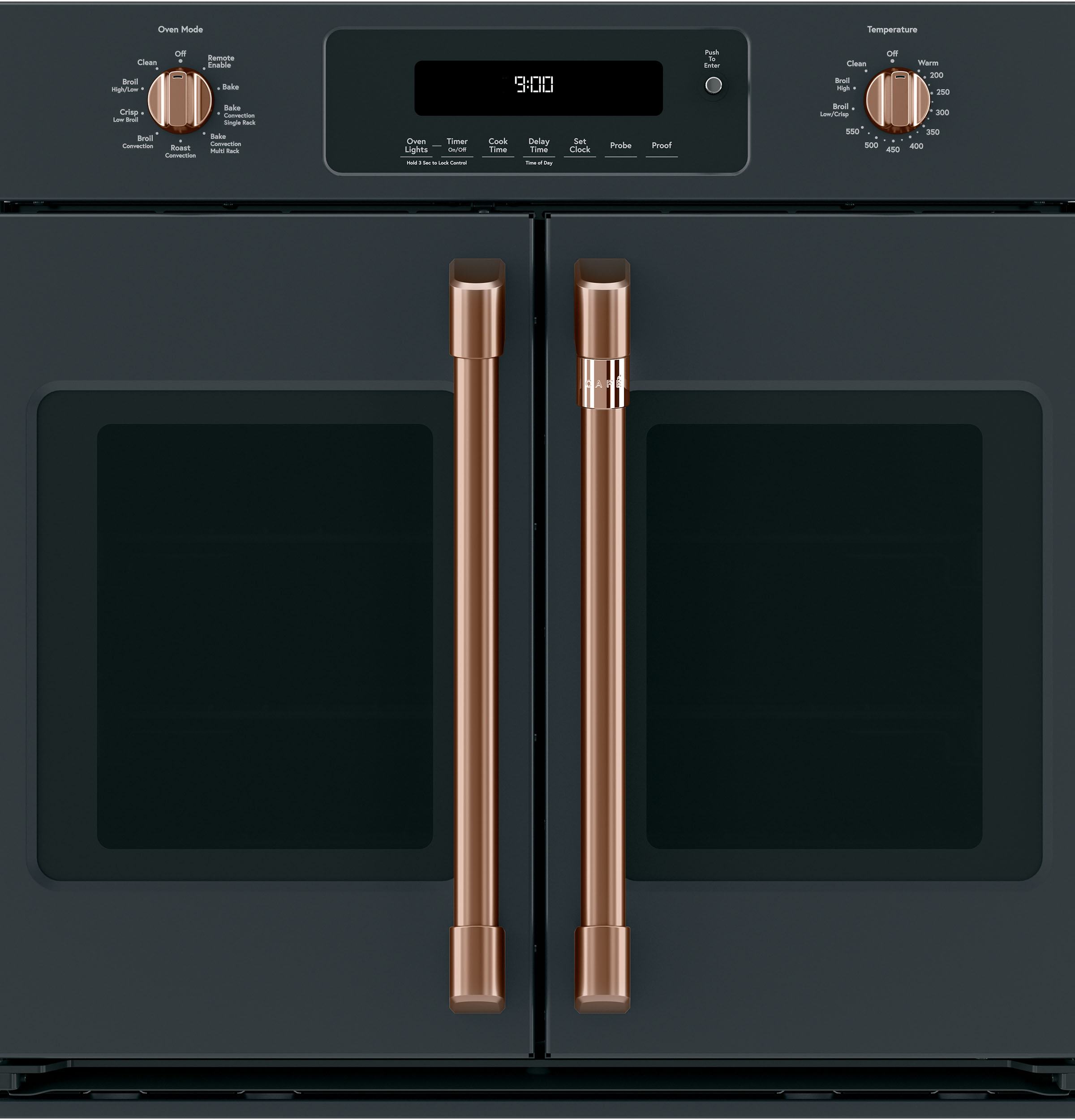 Model: CXWSFHKPMCU | Cafe 2 French-Door Handles; 2 Knobs - Brushed Copper