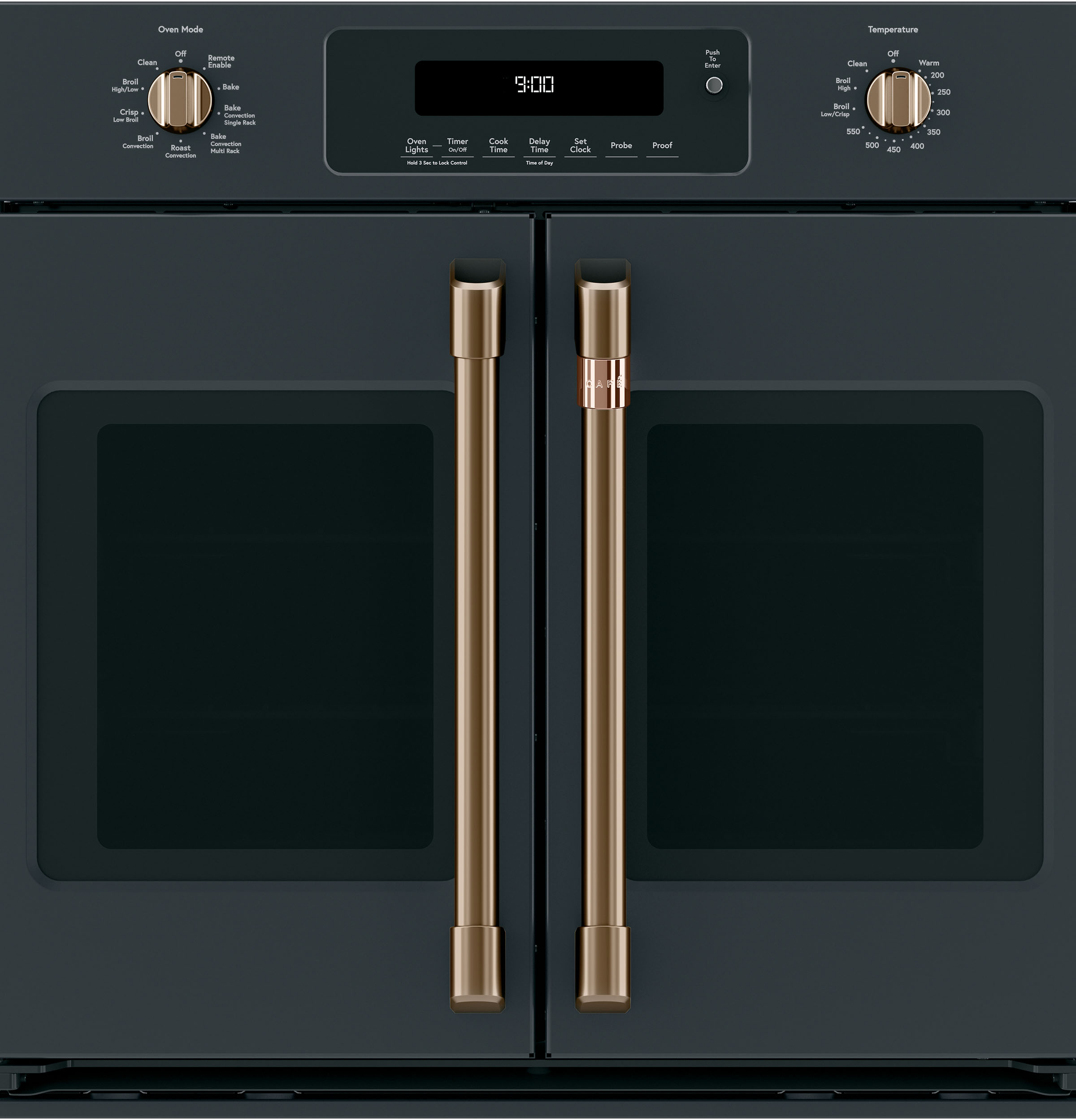 Model: CXWSFHKPMBZ | Cafe 2 French-Door Handles; 2 Knobs - Brushed Bronze