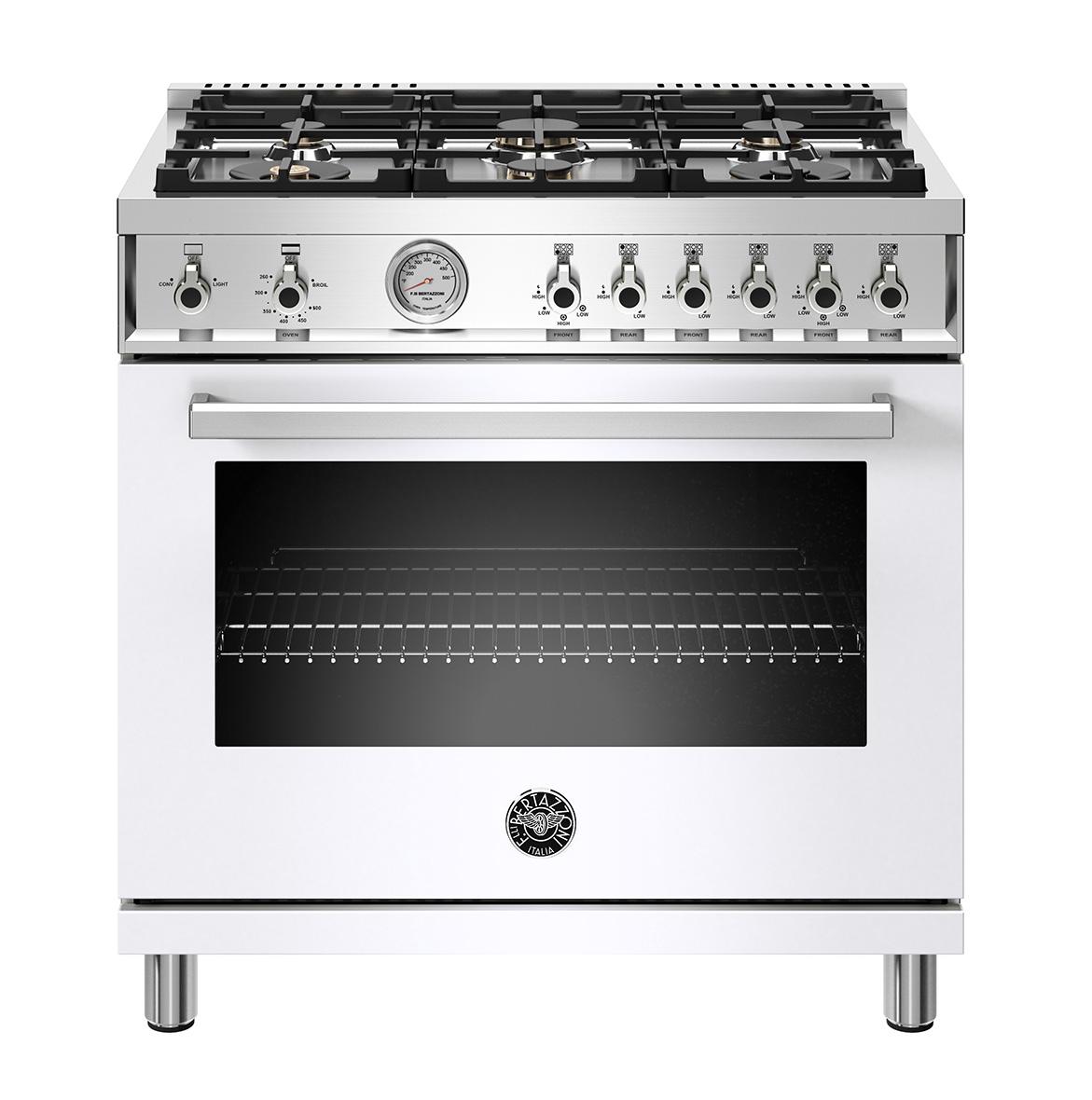 "Bertazzoni 36"" Professional Series range - Gas oven - 6 brass burners"