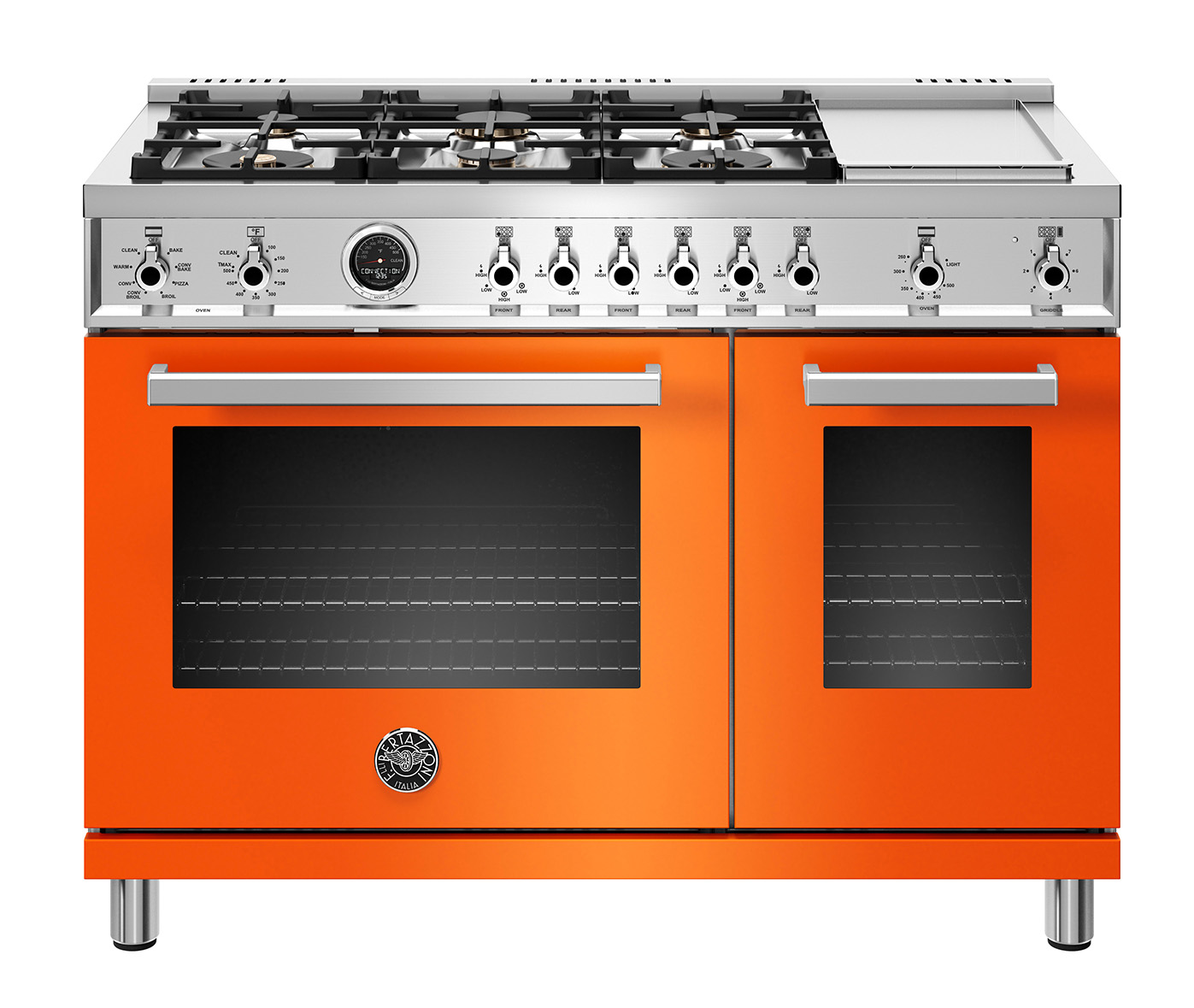 "Bertazzoni 48"" Professional Series range - Electric self clean oven - 6 brass burners + griddle"