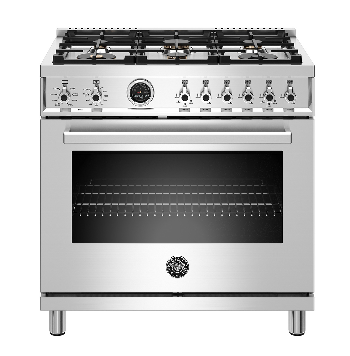 "Bertazzoni 36"" Professional Series range - Electric self clean oven - 6 brass burners"