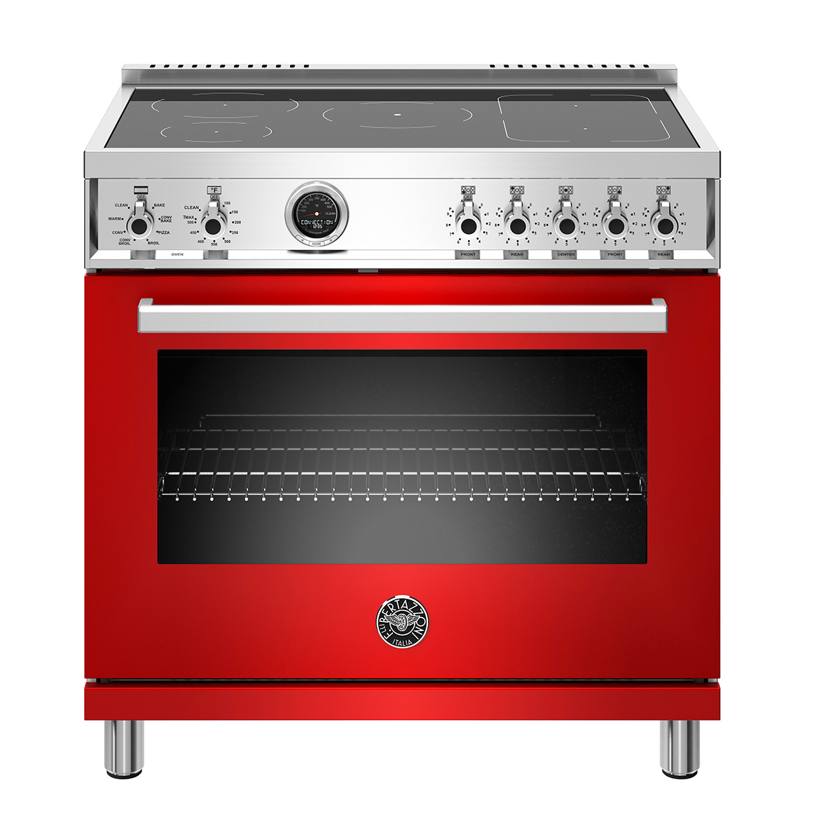 "Bertazzoni 36"" Professional Series range - Electric self clean oven - 5 induction zones"