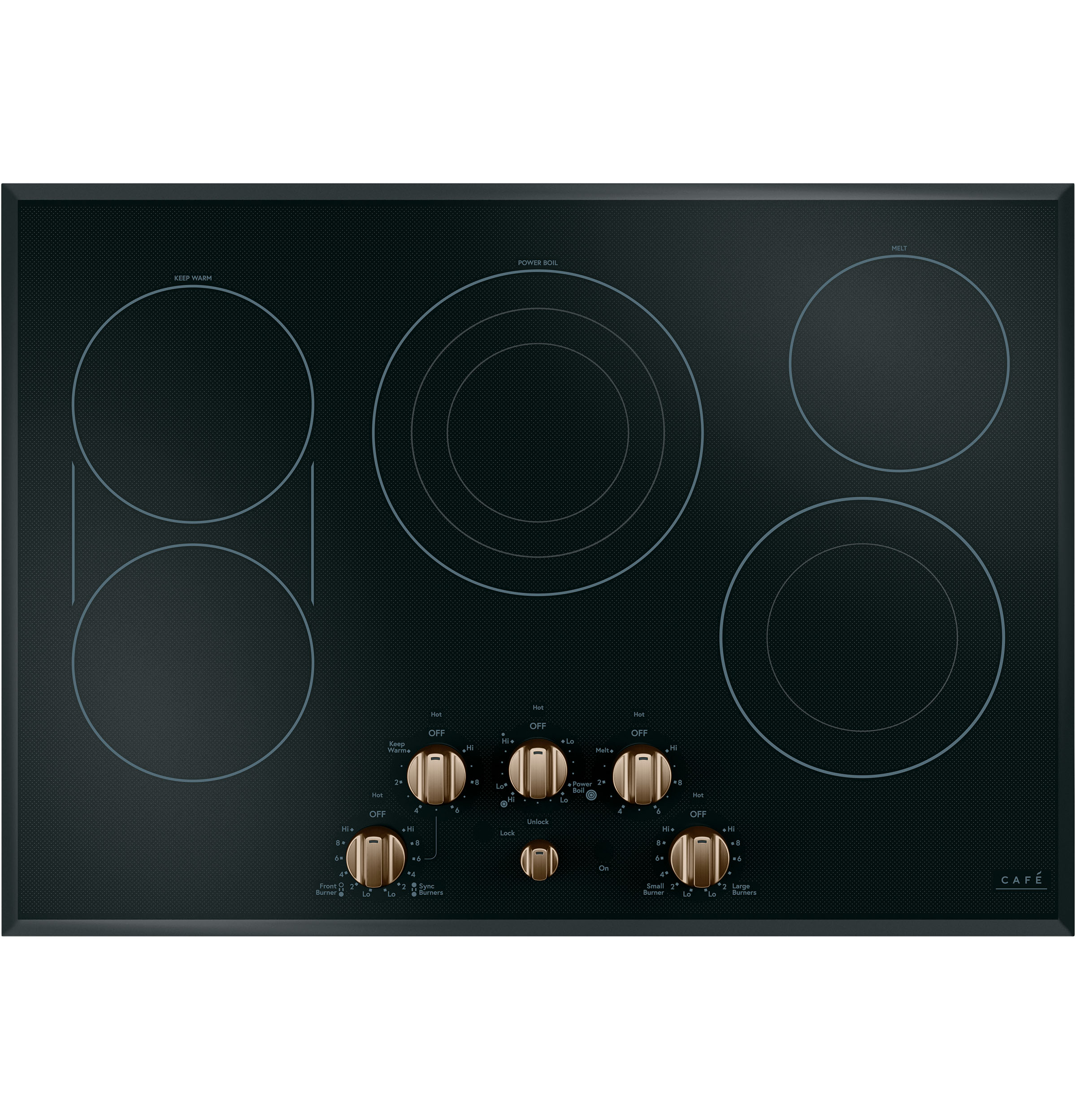 Cafe 5 Electric Cooktop Knobs - Brushed Bronze
