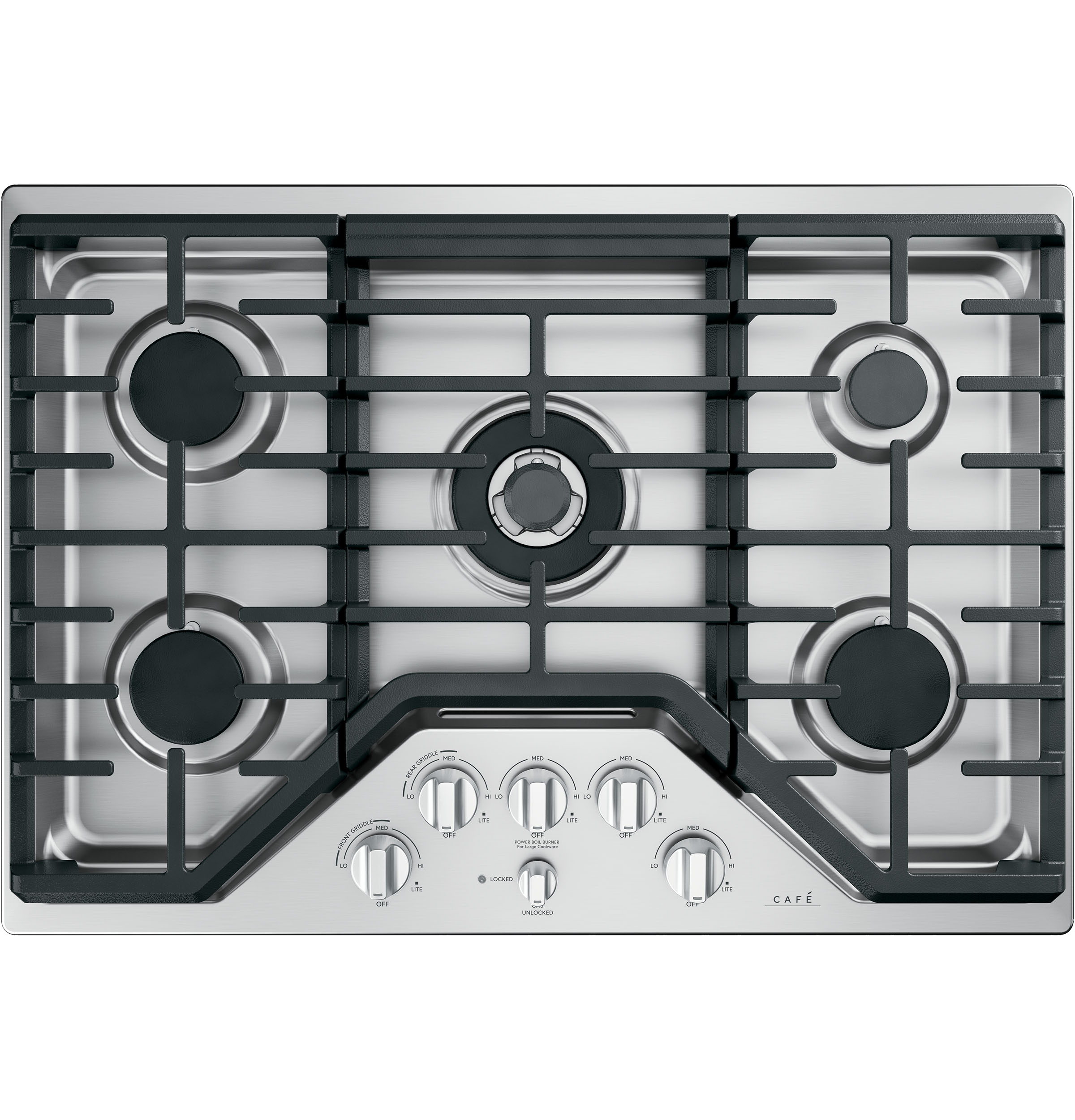 Cafe 5 Gas Cooktop Knobs - Brushed Stainless