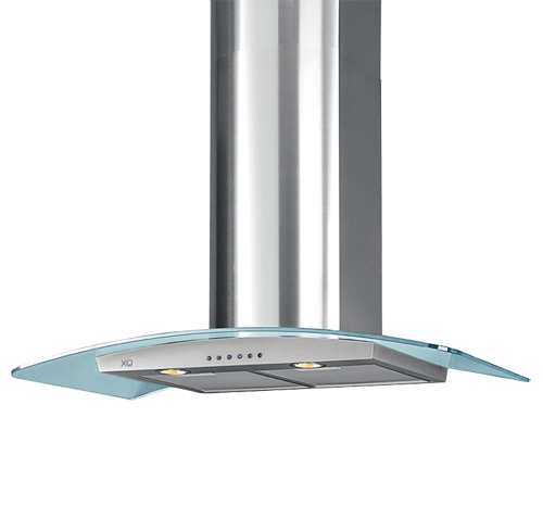 """XO Appliances 600 CFM 30"""" Arching Glass And Stainless Italian Made Wall Mount Hood"""