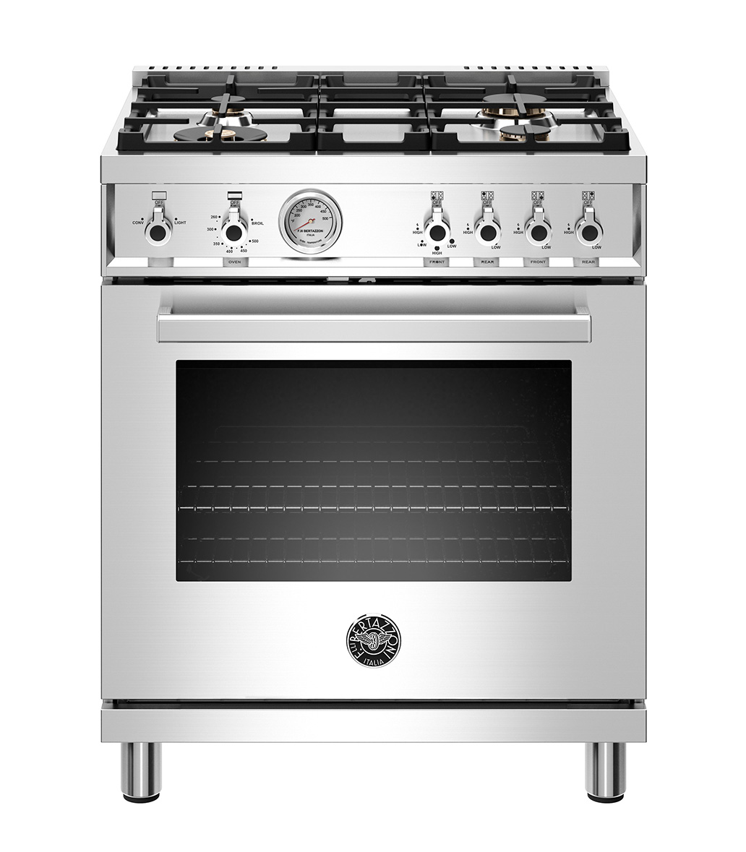 "Model: PROF304GASXTLP   Bertazzoni 30"" Professional Series range - Gas oven - 4 brass burners - LP version"