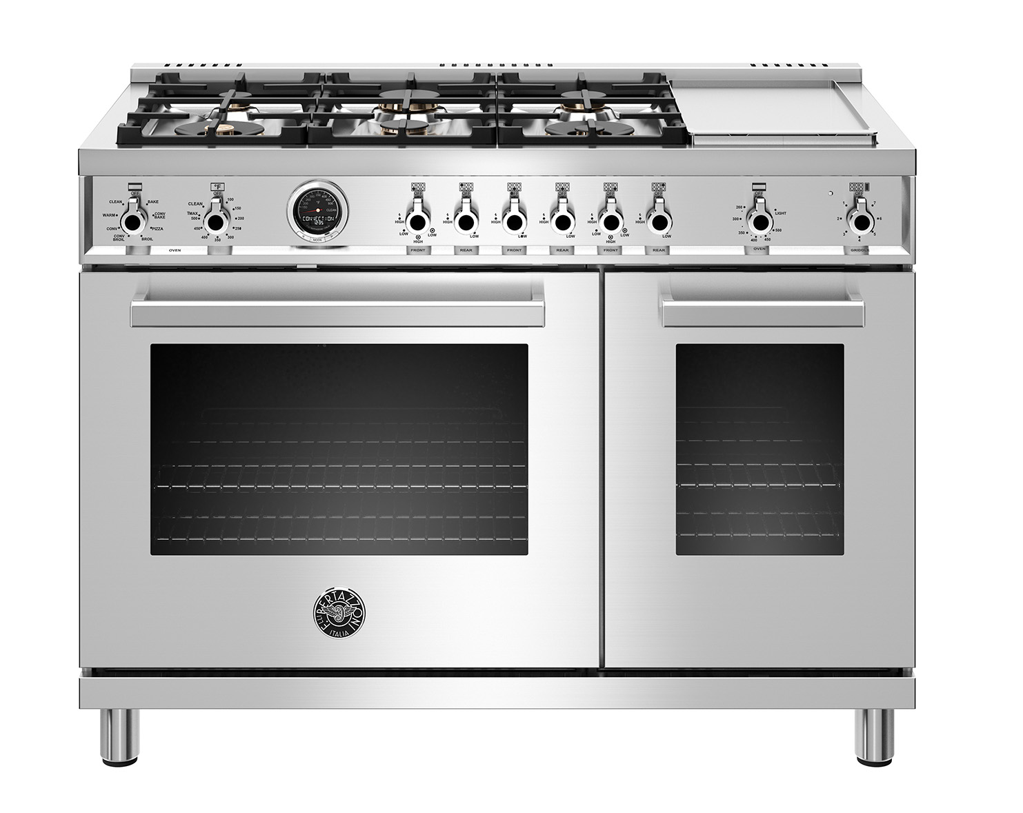 "Model: PROF486GDFSXT | Bertazzoni 48"" Professional Series range - Electric self clean oven - 6 brass burners + griddle"