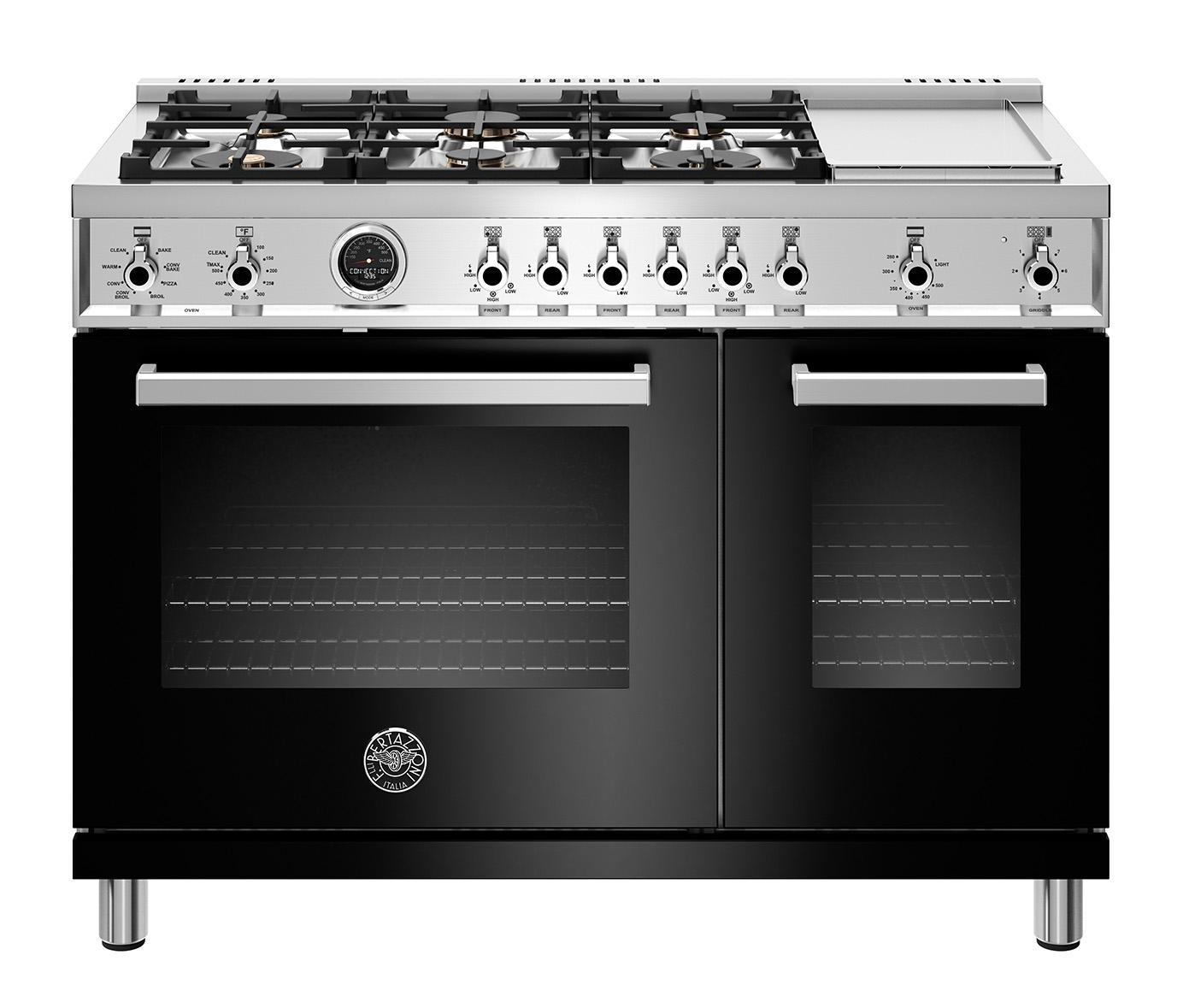 "Model: PROF486GDFSNET | Bertazzoni 48"" Professional Series range - Electric self clean oven - 6 brass burners + griddle"