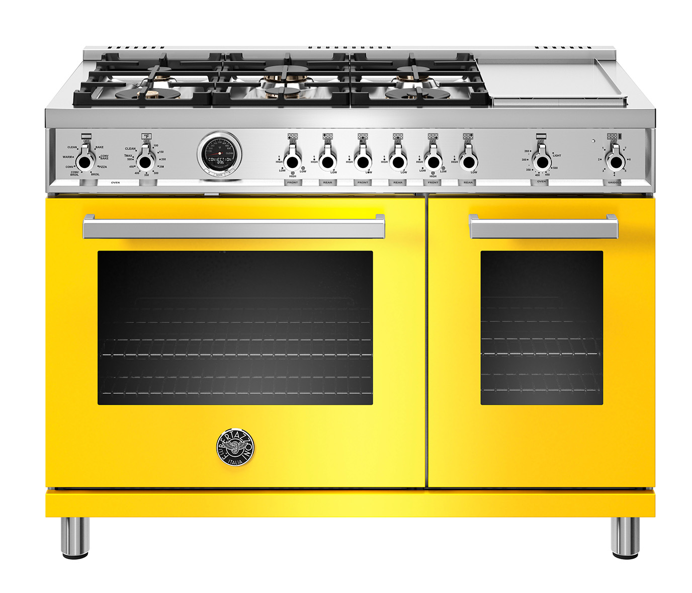 "Model: PROF486GDFSGIT | Bertazzoni 48"" Professional Series range - Electric self clean oven - 6 brass burners + griddle"