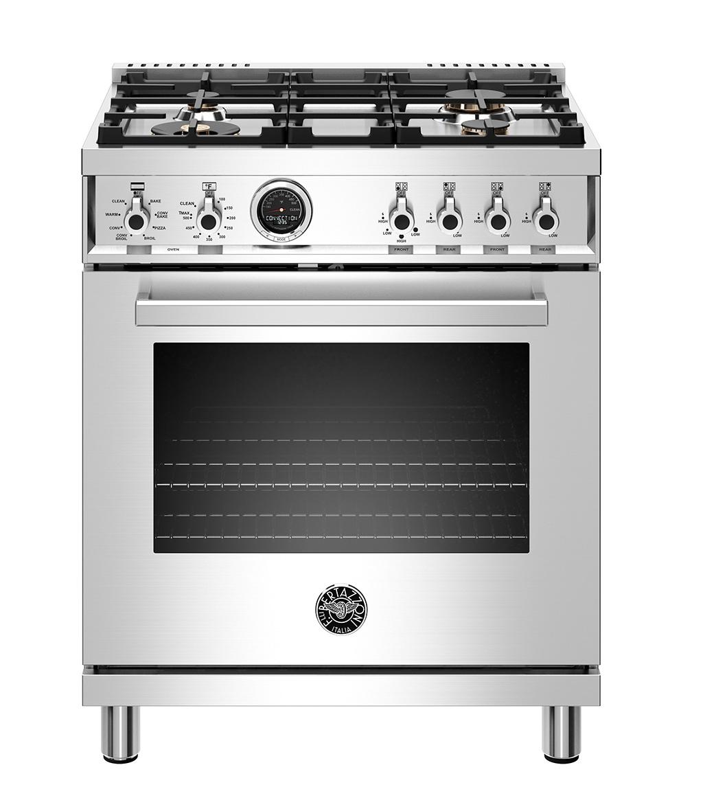 "Model: PROF304DFSXT | Bertazzoni 30"" Professional Series range - Electric self clean oven - 4 brass burners"