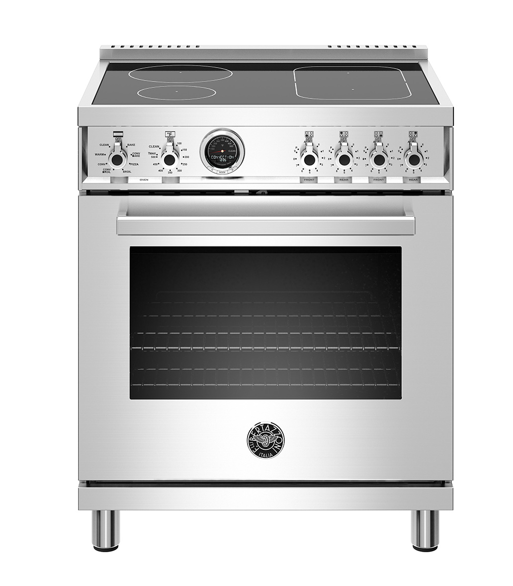 "Model: PROF304INSXT | Bertazzoni 30"" Professional Series range - Electric self clean oven - 4 induction zones"