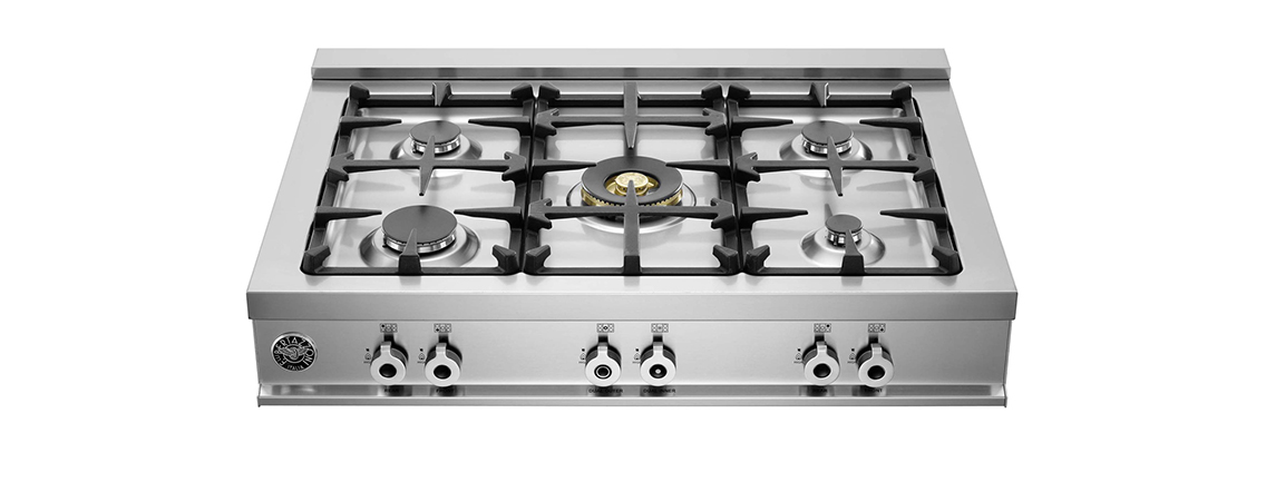 "Model: CB36500X | Bertazzoni 36"" Rangetop 5 Brass Burners"