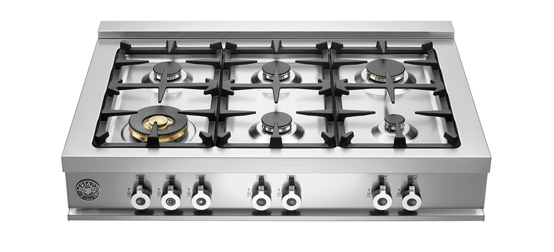 "Model: CB36600X | Bertazzoni 36"" Rangetop 6 Brass Burners"