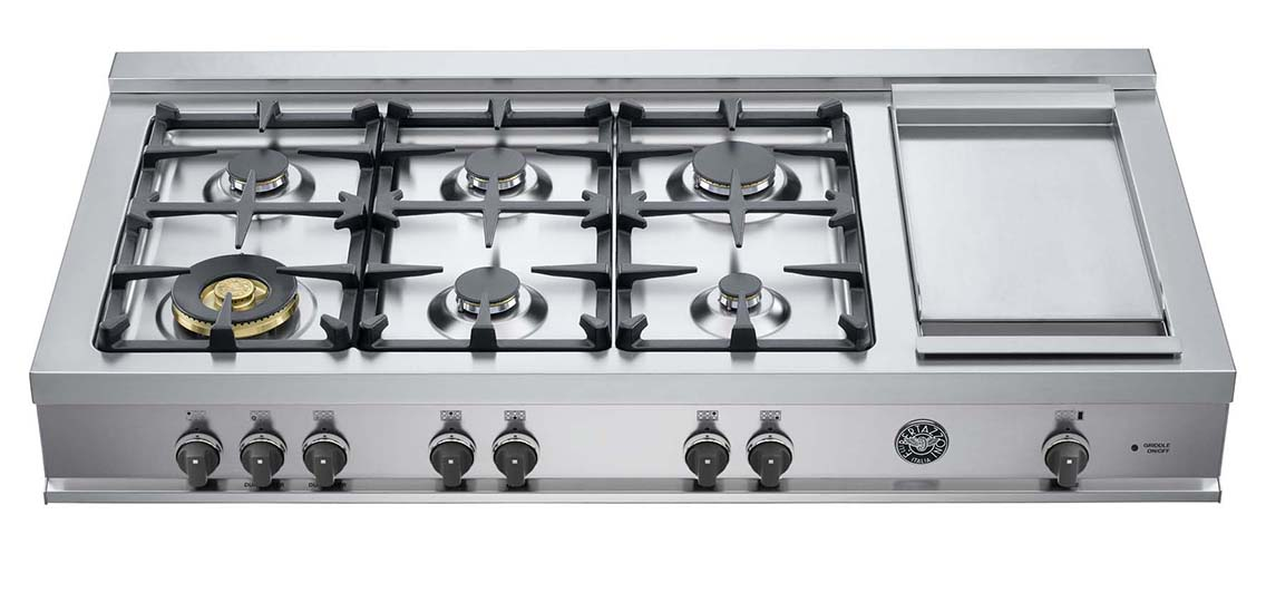"Model: CB48M6G00X | Bertazzoni 48"" Rangetop 6 Brass Burners + Griddle"