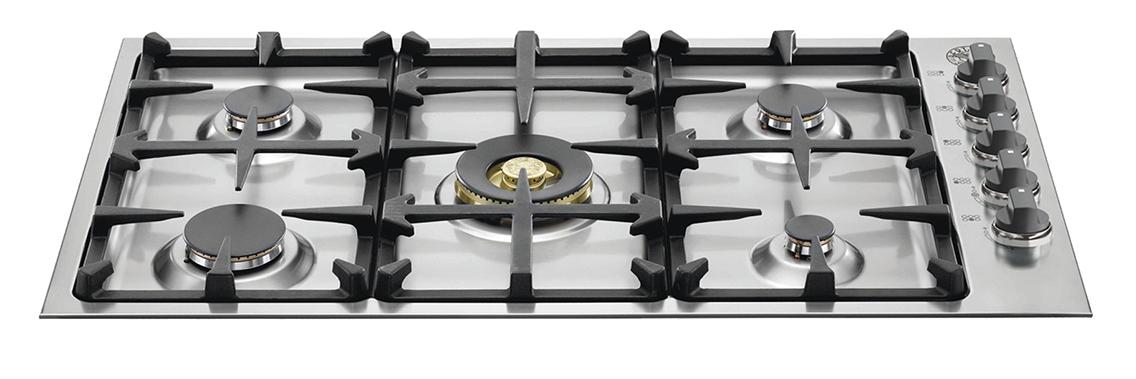 "Bertazzoni 36"" Low Profile Cooktop Profile Cooktop 5 Brass Burners"