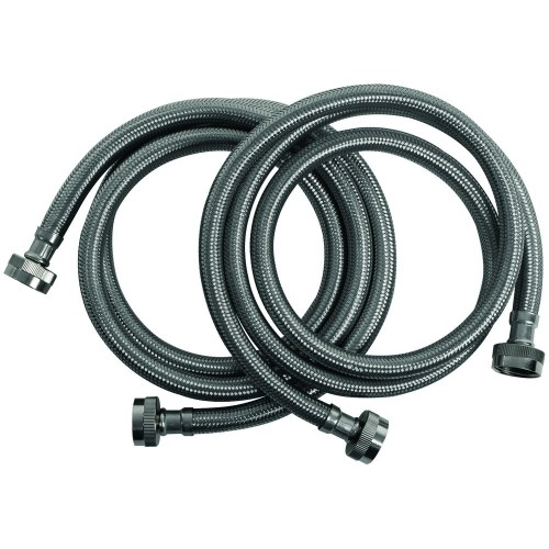 Braided Stainless Steel Washing Machine Hoses, 2 pk (5ft)