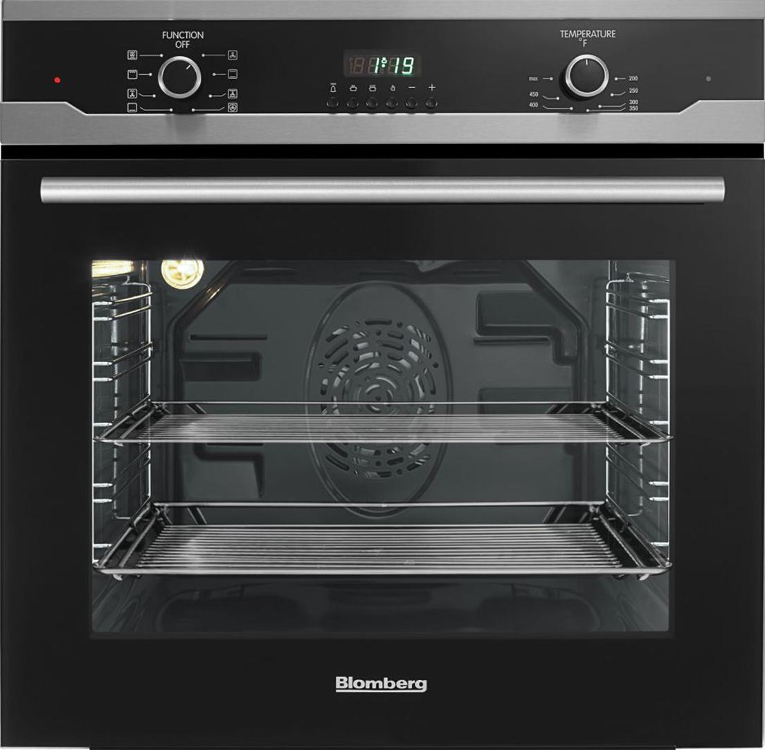 "Blomberg 24"" Built in Wall Oven Single, black, full glass door moon design"