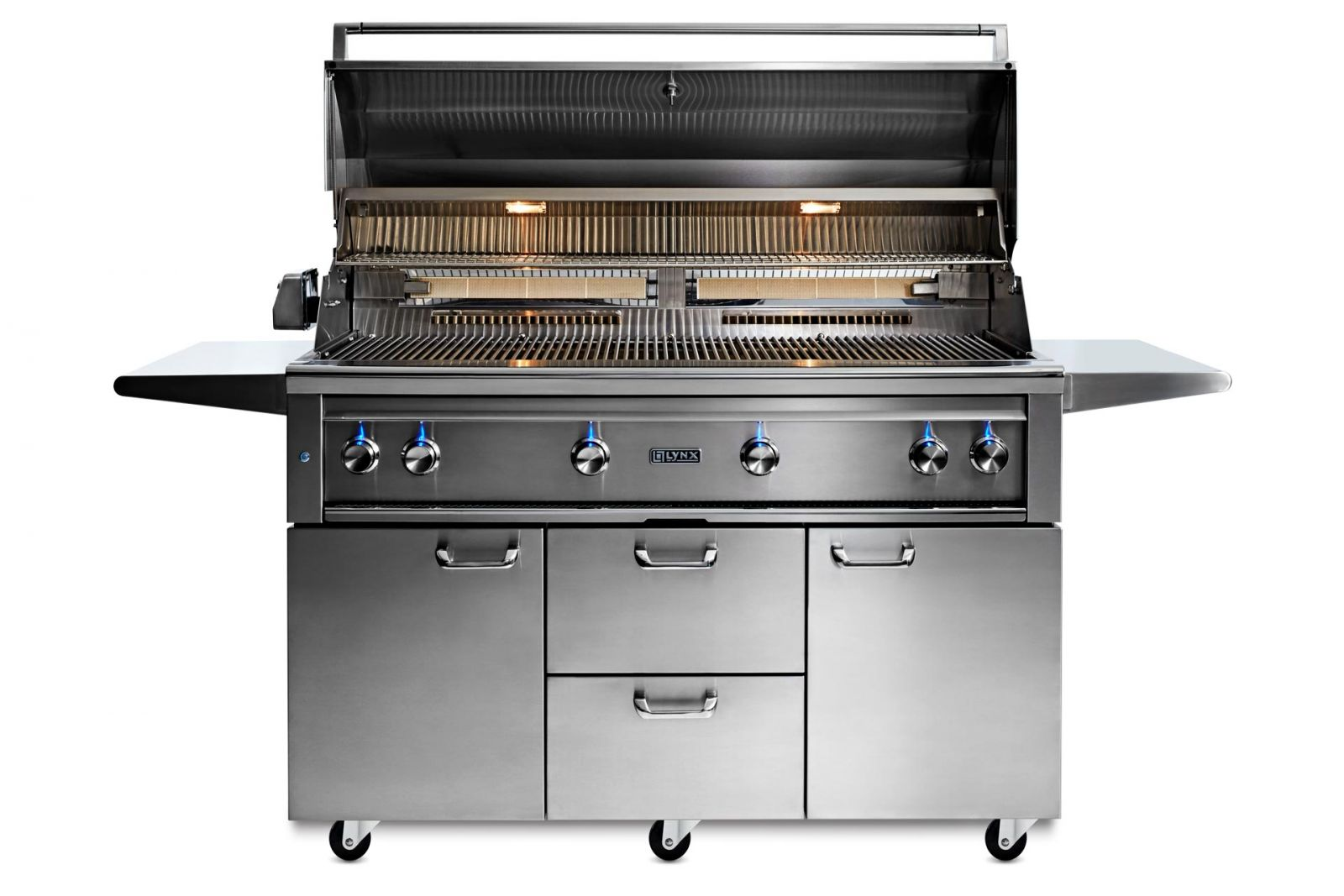"""54"""" Professional Freestanding grill with 1 trident infrared burner and 3 ceramic burners and rotisserie (L54TRF)"""