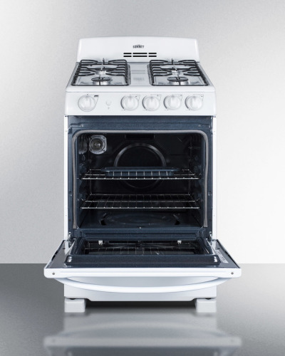 "Model: RG244WS | Summit 24"" wide gas range in white with electronic ignition"