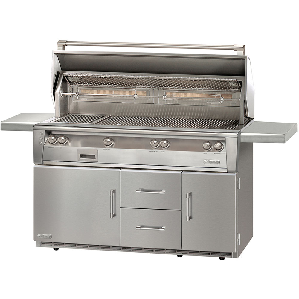 Alfresco 56-In. Liquid Propane Jumbo Grill with Sear Zone on Refrigerated Cart
