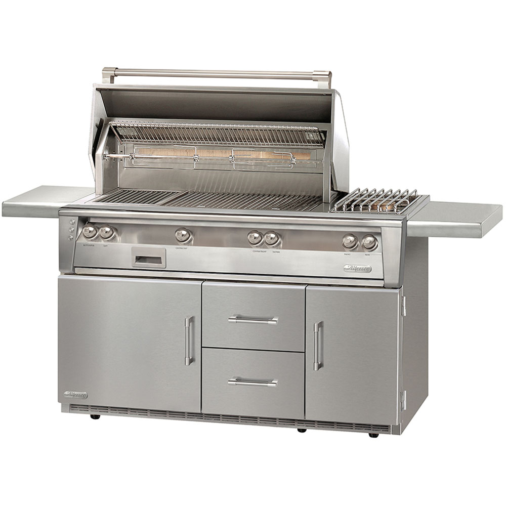 Alfresco 56-In. Liquid Propane Grill with Side Burner on Refrigerated Cart