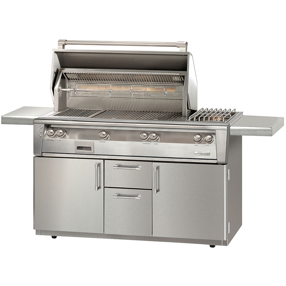 Alfresco 56-In. Natural Gas Grill with Side Burner and Sear Zone on Deluxe Cart