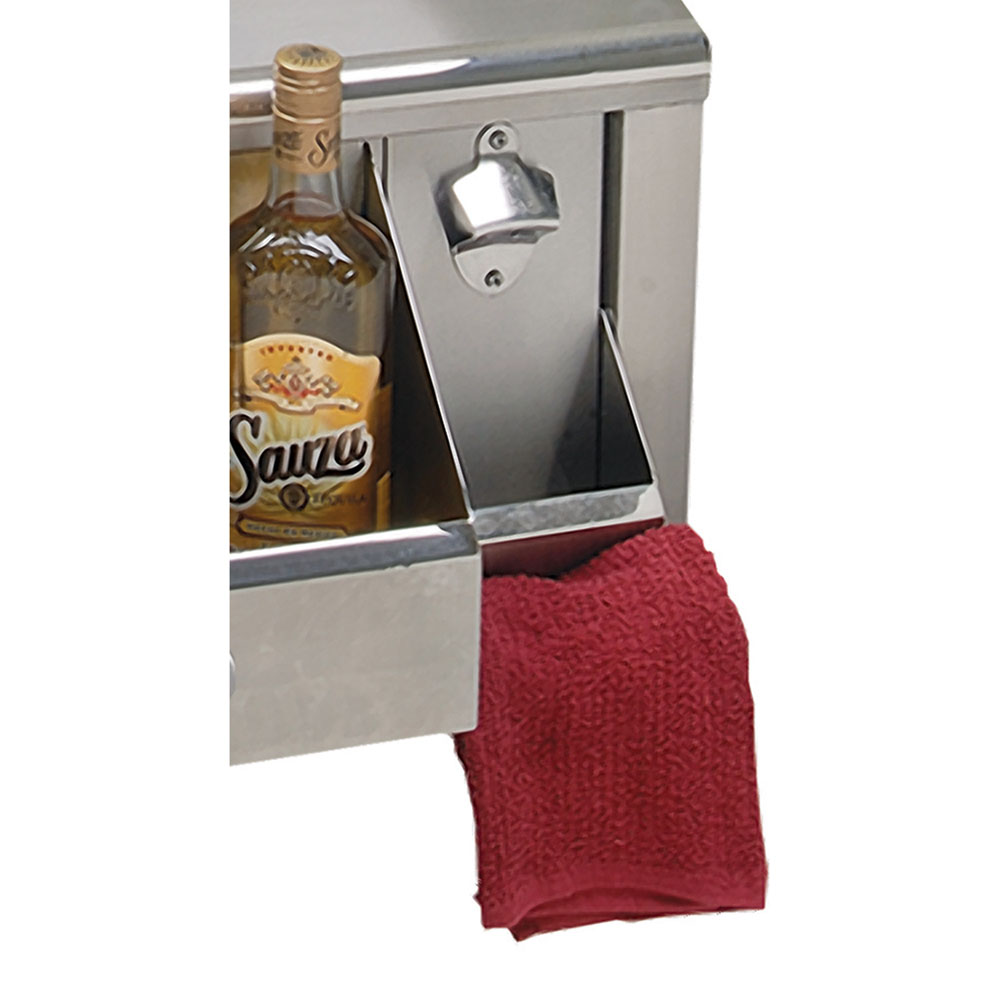 Alfresco Bottle Opener with Cap Catch and Towel Holder