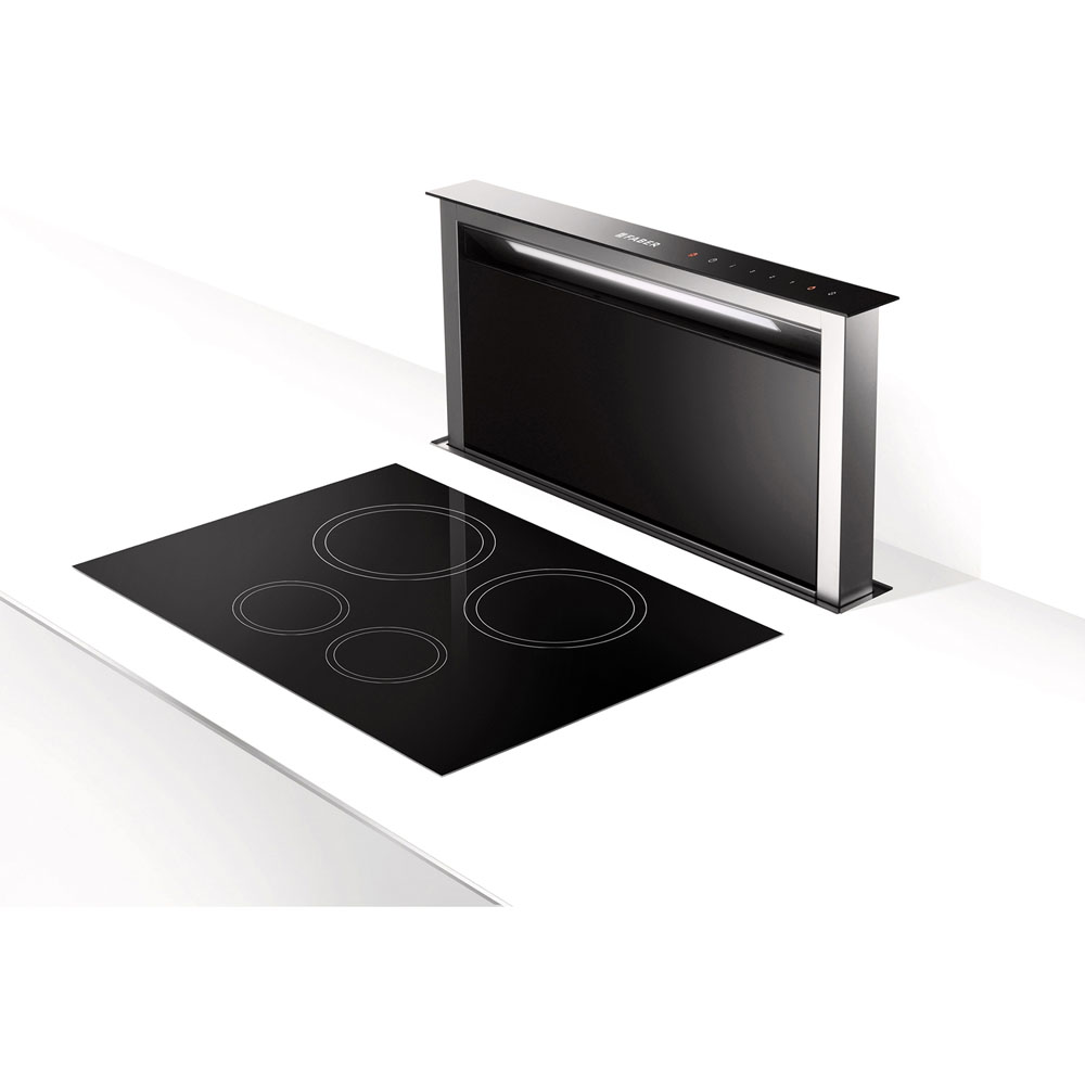 Faber Scirocco Lux 36 Inch Down Draft Range Hood-Black Glass