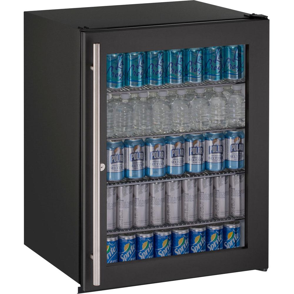 24-In. ADA Series Black Frame Glass Door, Field-Reversible Door Refrigerator with Lock