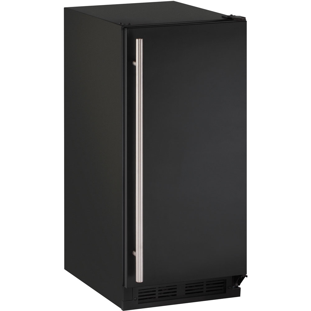 U-Line 15-In. 1000 Series Black Solid Field-Reversible Clear Ice Maker with Pump