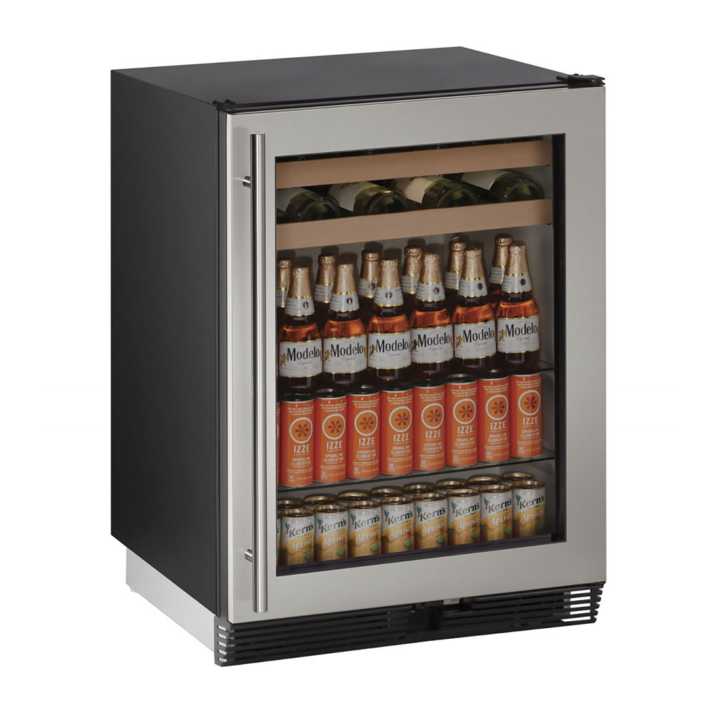 U-Line 24-In. Stainless Frame Beverage Center with Reversible Door Hinge