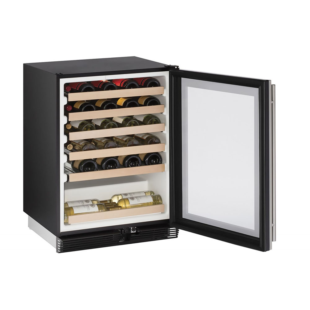 Model: U-1024WCS-00B | 24-In. 1000 Series Stainless Frame Wine Captain with Reversible Door Hinge