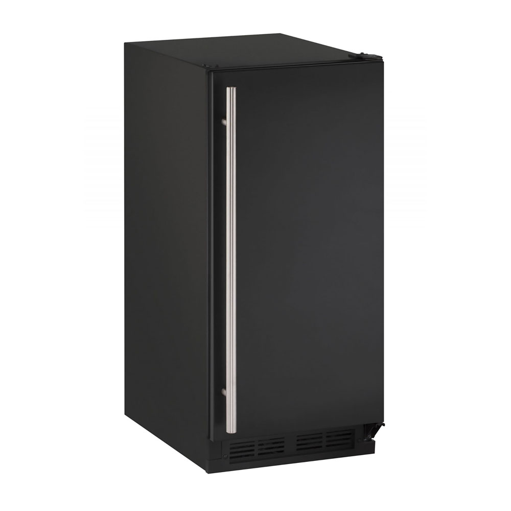 U-Line 15-In. 1000 Series Black Solid Door Refrigerator with Reversible Door Hinge
