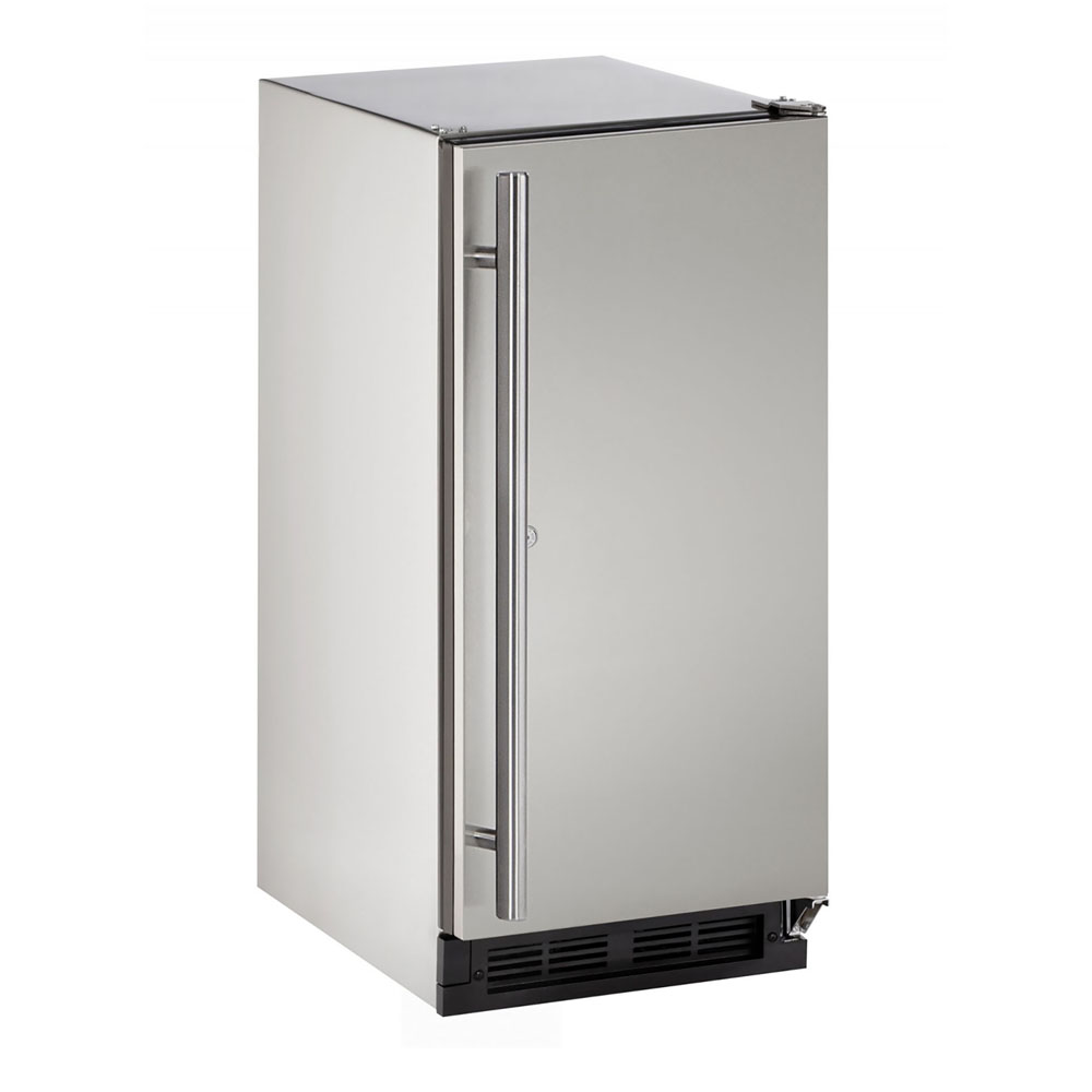 Model: U-1215RSOD-00B | U-Line 15-In. Outdoor Series Stainless Solid Door Refrigerator with Reversible Door Hinge